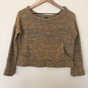 Free People | Marled Knit Crop Sweater Size Medium
